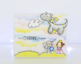 Handmade Card - To A Charming Friend - MFT Magical Dragons
