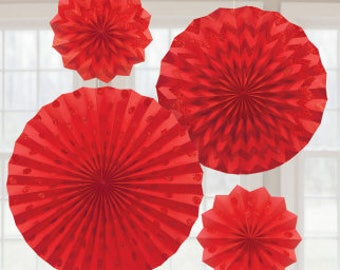 Party Decorations,Apple Red Glitter Paper Fans
