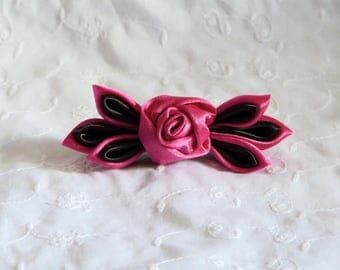 Pink and black leaves and pink flower hair clip