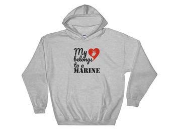 My Heart Belongs to a Marine Black Hooded Sweatshirt