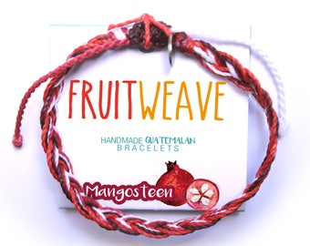 MANGOSTEEN FEATHER BRACELET, Guatemalan Bracelets, Handmade bracelets, colorful bracelets, fruit based, fruit weave, friendship bracelets.