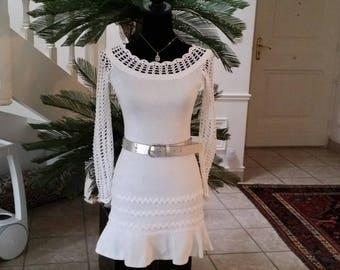 White mesh crochet and jersey dress