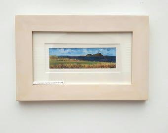 Fidra, from 14th Green, North Berwick Golf Course  - print from an original artwork. By Scottish artist Robert J. Gould.