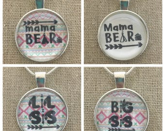 Mama bear pendant necklace/keychain. Lil sis pendant necklace .Big sis pendant necklace .Mama bear jewelry