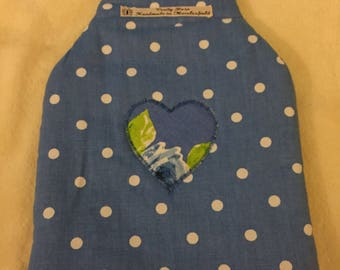 Blue Spotty Hot Water Bottle Cover, hottie cover, hot water bottle cosy,