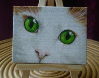 Original artwork - cat painting in acrylic - unique one off hand painted
