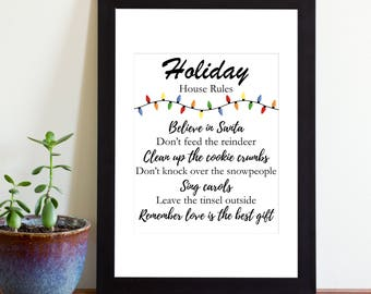 Printable Holiday House Rules Sign, Printable Sign, Instant Download