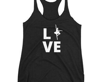 Ballet Love Tee   Ballet Dancer T-Shirt   Women's Racerback Tank