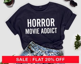 Blood Shirt - Horror Movie Addict | Horror Shirt | Horror Fan Gifts | Halloween shirt | Horror shirt | Shirts for Horror Fan Gifts for Him