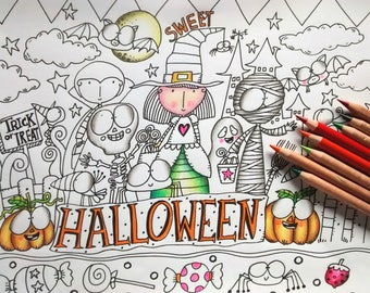 1 IMAGE,Color,Coloring,Printable Coloring Page,Draw Illustration,LineArt Download Printable,colored,coloring pages ghost witch pumpkin