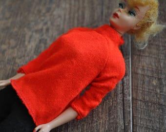 Vintage Barbie Clothes - Red Knit Long-sleeved Shirt