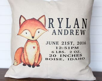 Personalized baby pillow etsy ca personalized baby pillow cover kids pillow cover customized baby stat pillow cover birth negle Choice Image