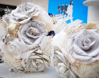 Bridal Bouquet made from Music Sheet Paper Roses, Wedding, Personalised, Everlasting Wedding Flowers