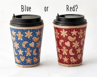 Gingerbread Coffee cup sleeve  Christmas Cup cozy Starbucks coffee  Cup sleeve To go cup Outdoors-gift Hot drink sleeve Christmas Cookies