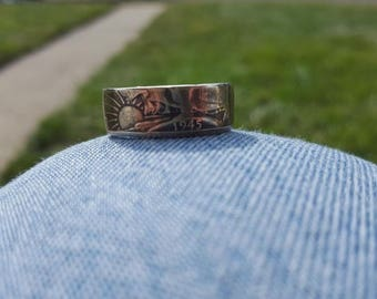 Silver Walking Liberty Half Dollar Coin Ring