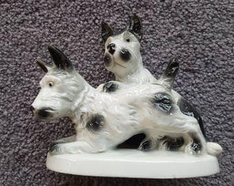Antique Scottie dogs figurine sculpture - made in Germany - stamped and numbered