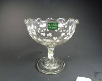 Eamon glass pedestal serving dish,hand engraved in Ireland