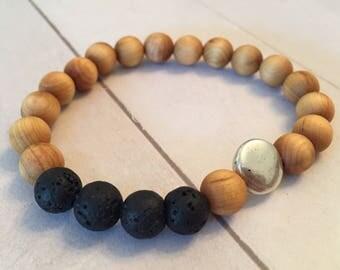 Sandalwood + Lava Stone Silver Disc Diffuser Essential Oil Bracelet