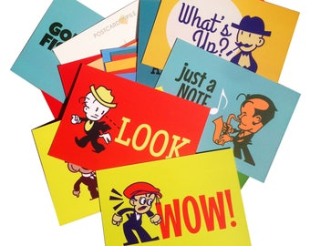 Postcard Pile Pack of 25 Retro Postcards