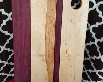 12x18 maple and purple heart cutting board.