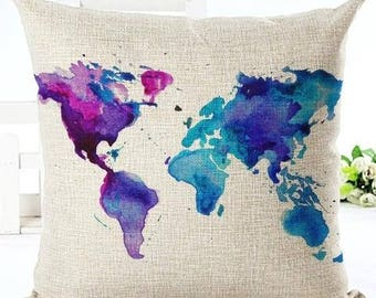 Wanderlust Cushion Cover 2 *Free Shipping* World Map Pillow Cover, Accent Pillow, Throw Pillow, Couch Cushion, Travel, Geography