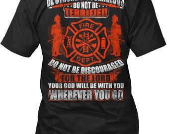 Joshua 1:9 Bestrong And Courageous Firefighter T-Shirt For Men