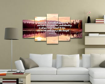 Proverbs 3:5-6 #8 NIV Trust in the Lord Bible Verse Canvas | Christian Canvas | Scripture | Religious | Wall Art | Home Decor Paintings
