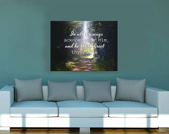 Proverbs 3:6 #5 KJV In all thy ways acknowledge him Scripture Art, Framed Bible verses, Religious framed art, Wall Hangings, Christian