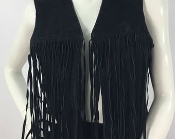 80s genuine black leather fringed vest