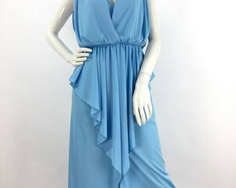 70s Algo maxi dress/1970s baby blue Algo evening gown/vintage Algo maxi