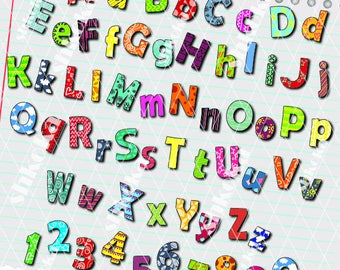 Colorful Digital Clip Art alphabet, Letters & Numbers Clipart, 62 High Quality PNG files, Instant Download, Scrapbook, craft, children craft