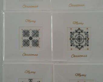 Cross stitch blackwork Christmas cards