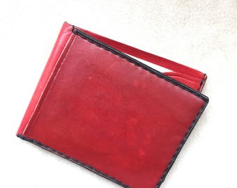 Credit card wallets/ wallets/leather cardholder/personalized slim wallet• handmade•mother-days gift•gift for her•red•hand stitched wallets