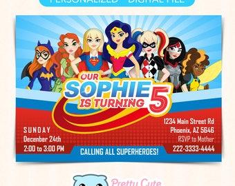 DC Super Hero Girls invitation, DC Super Hero Girls invite, DC Super Hero Girls Birthday invitation
