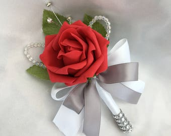 Artificial Wedding Flowers, Buttonholes, Boutonnieres, Ladies Corsage, Red Roses with crystals and diamantes