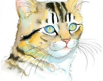 Tabby Kitten Original Watercolor Painting