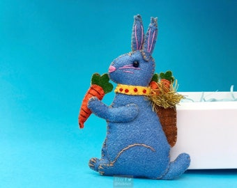 "4.5"" hand stitched blue rabbit blue bunny hanging / felted felt bunny decoration / felt hanging ornament chic felt / easter primitive decor"