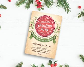 """Christmas Party Invitation 4""""x6"""" Design Customized With Your Informatio"""
