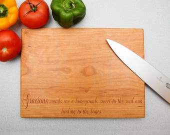 Proverbs 16:24 Gracious Words Are A Honeycomb Cutting Board Gift for Christmas, Birthday, Anniversary, Church, Pastor, Minister, God