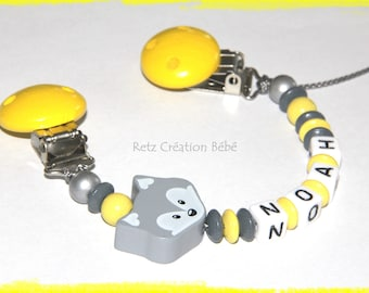 Pacifier wood Fox yellow and grey