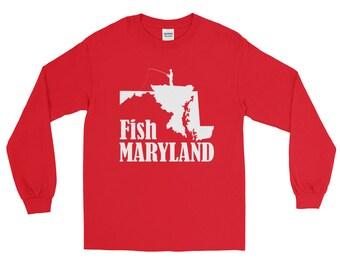 Fish Maryland Fishing Long Sleeve T-shirt | Fishing Apparel