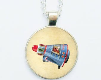 Space Rocket Pendant Necklace / Earrings / Ring / Pin Badge Vintage Sci fi Science Fiction Rocket Ship Tin Toys Futuristic Astronaut