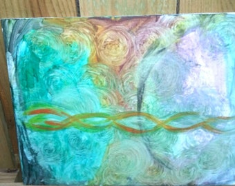 "11x14 Intuitive Painting, ""Strands"""