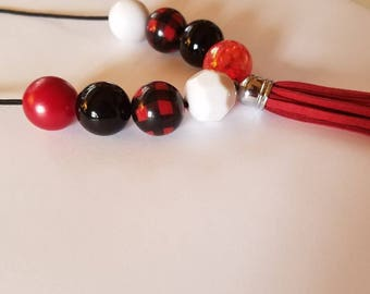 Buffalo plaid chunky bead necklace