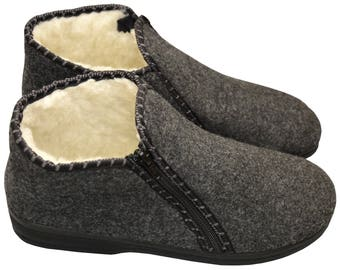 100% Natural Sheep Wool Boots Cozy Foot Slippers with Hard Durable Sole Sheepskin Women's Men's Unisex Grey Colour