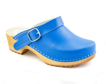 New Clogs LEATHER clogs for women men slippers closed toe shoes leather sandals  wooden sandals blue clogs boots wood shoe mule handmade