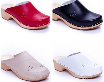 Leather Sandals  Clogs Sandals Black white women Sandals Wooden clogs Handmade Sandal Swedish clogs slippers mule sweden clogs summer shoes