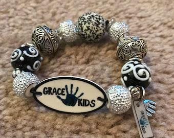 Black and Silver Grace Kids Bracelet