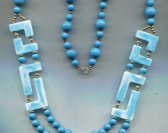 Blue Plastic Beads Abstract Design Gold Spacers Necklace