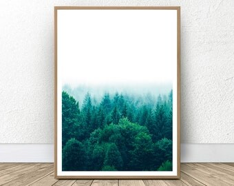 Forest Photography Printable, Woodland Print, Green Forest Wall Art, Modern Large Print, Landscape Photography, Tree Print, Home Decor